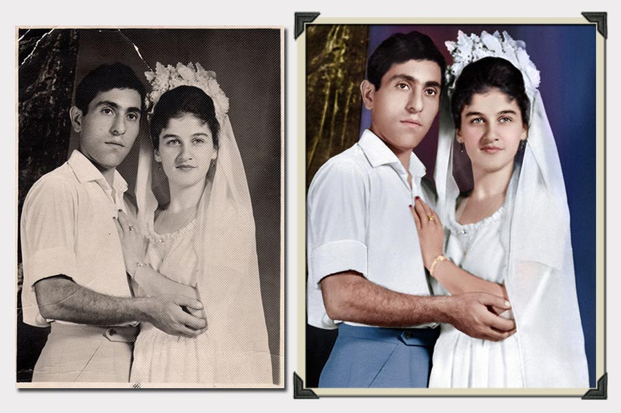 Phojoe Bride and Groom with Blue Pants Photo Colorization