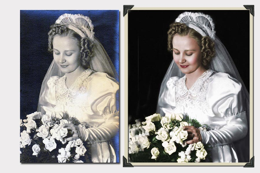 Phojoe Bride with White Roses Photo Colorization
