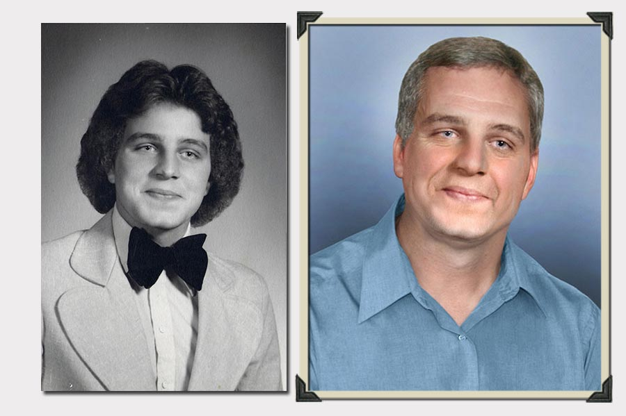 Phojoe Man in Bow Tie and Light Blue Eyes Age Progression