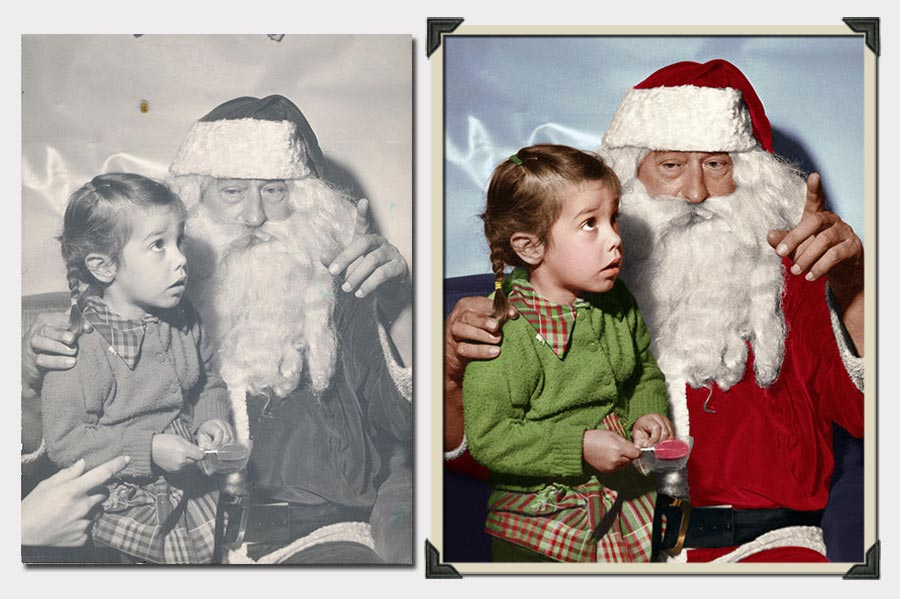 Phojoe Little Girl and Santa Claus Photo Colorization