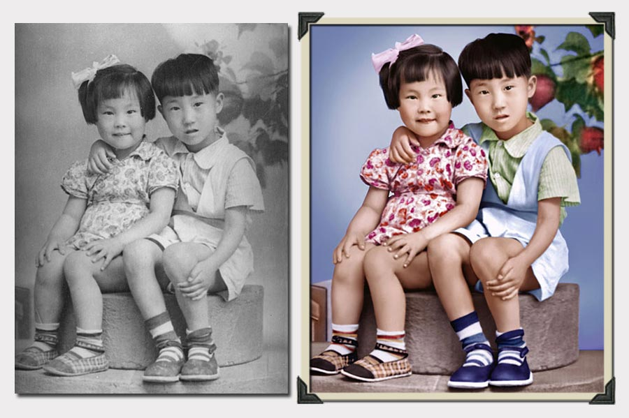 Phojoe Two Siblings Sitting Photo Colorization