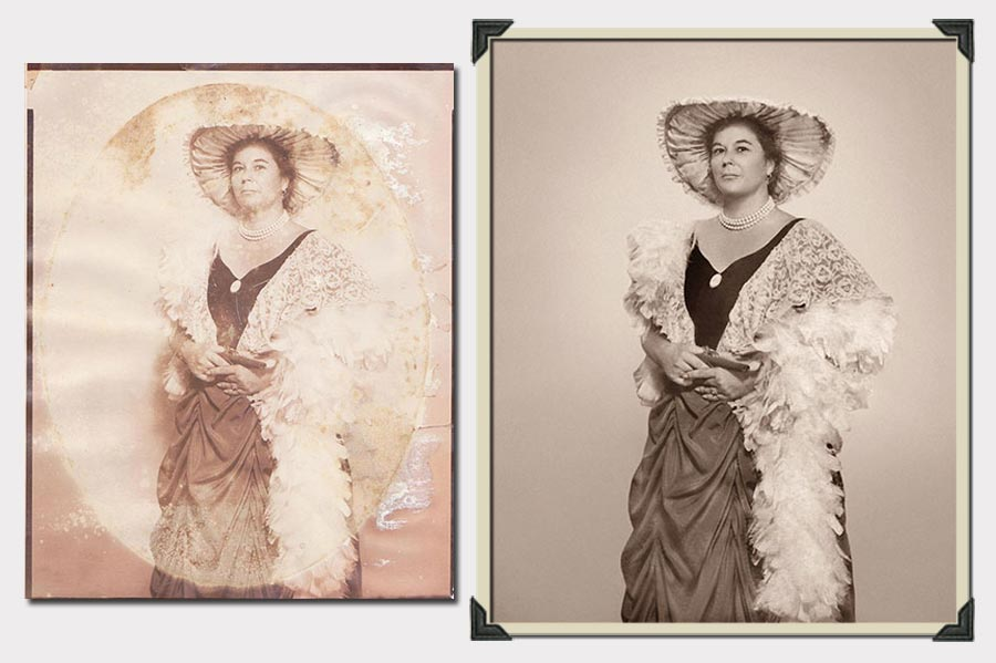 Phojoe Lady with Feathers and Hat Photo Restoration