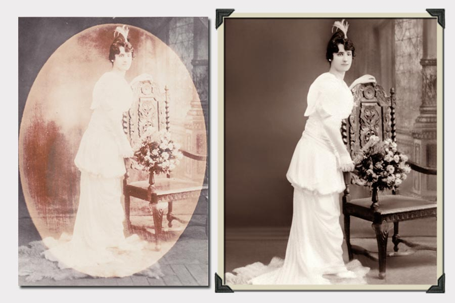 Phojoe Lady and a Chair Photo Restoration