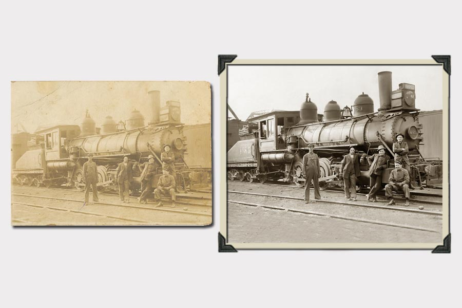 Phojoe Men and Train Faded Photo Restoration