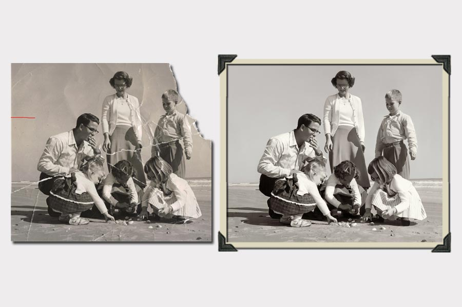 Phojoe Family on Beach Photo Restoration