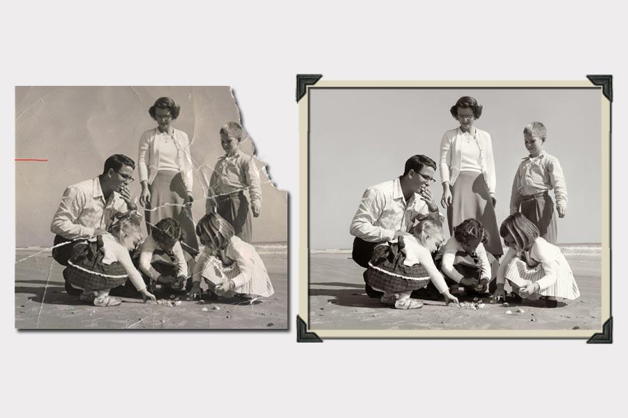 Phojoe Family on Beach Photo Restoration