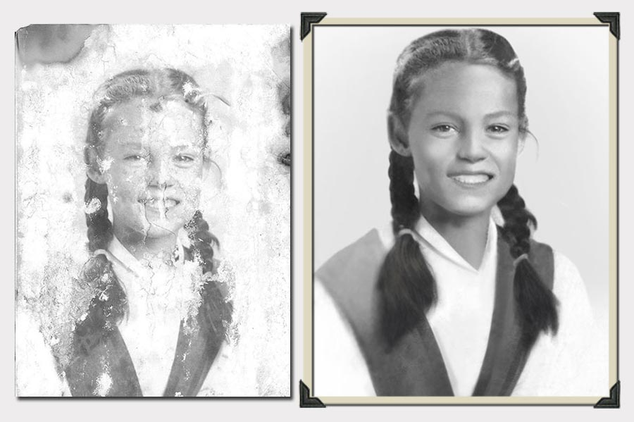 Phojoe Girl With Two Braids Photo Restoration