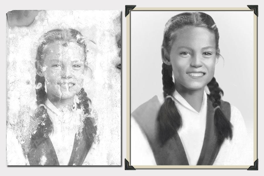 Phojoe Girl With Two Braids Photo Restoration