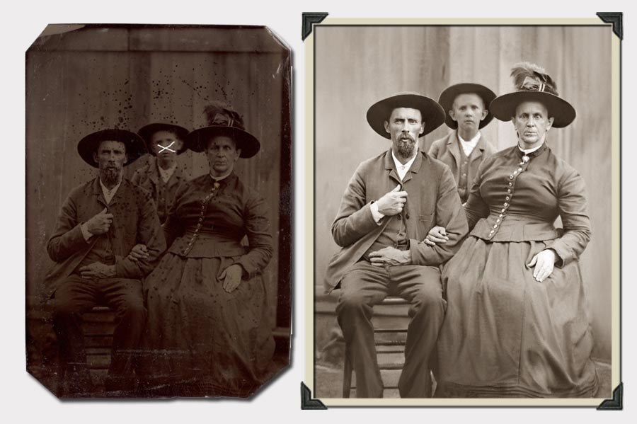 Phojoe Family With Hats Photo Restoration