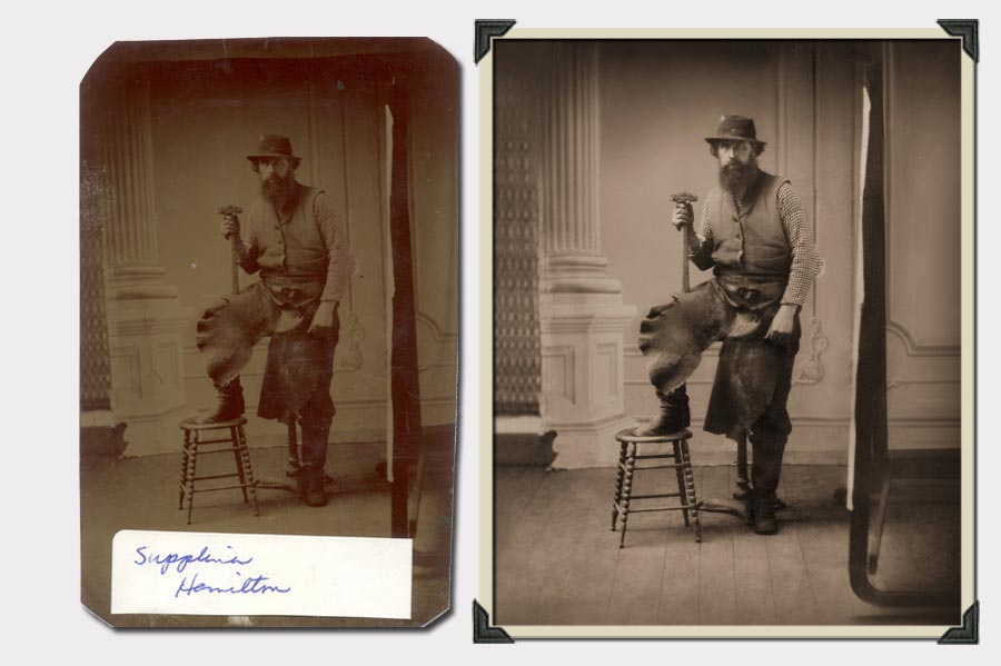 Phojoe Man with Hat and Hammer Photo Restoration