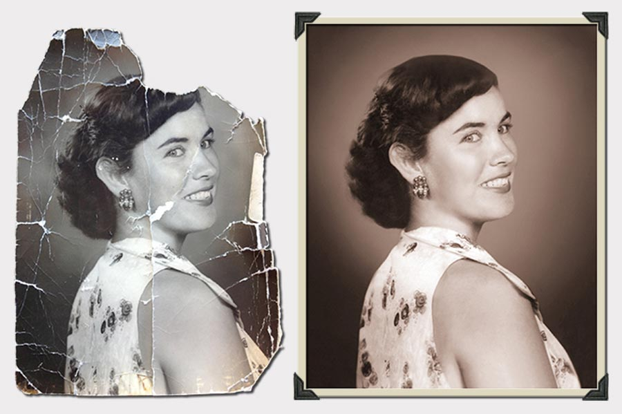 Photo Girl With Sparkling Earring Photo Restoration
