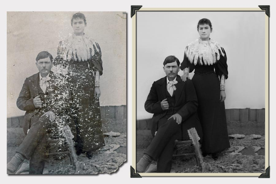 Phojoe Couple in Black and White Photo Restoration