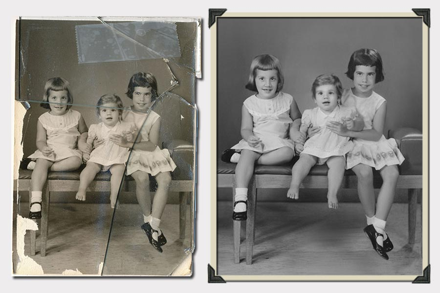 Phojo Three Little Girls in White Photo Restoration