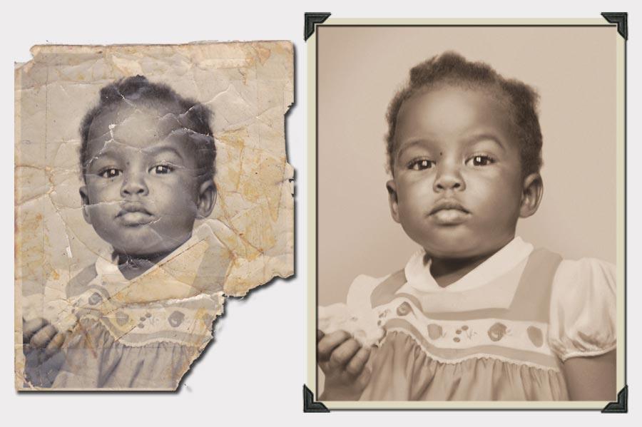 Phojoe Little Girl in Flower Dress Photo Restoration