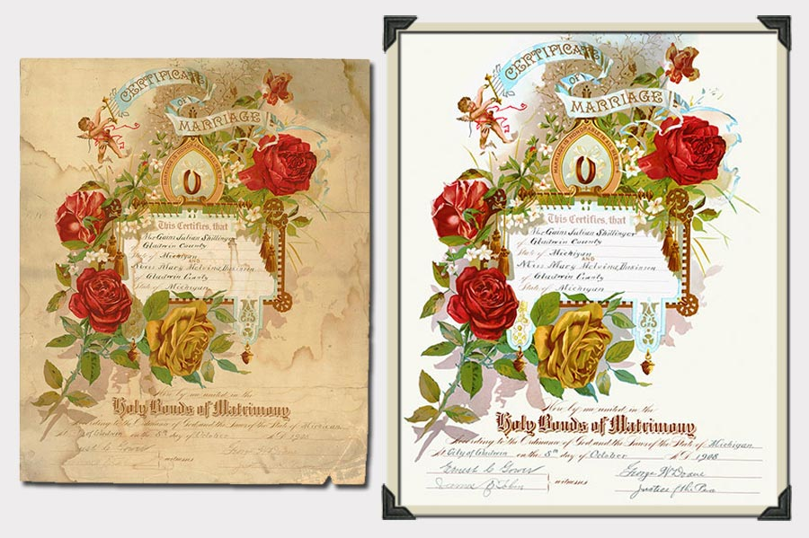 Phojoe Old Certificate of Marriage Restoration