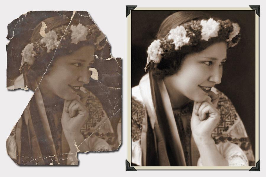 Phojoe Girl in Traditional Clothes Photo Restoration