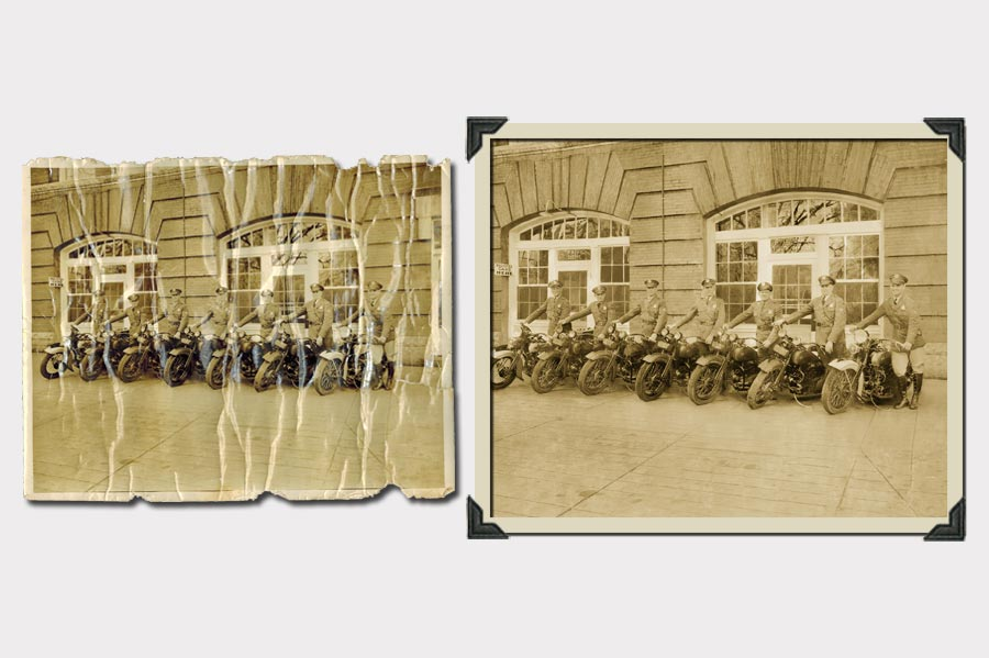 Phojoe Men on Motorcycles Photo Restoration