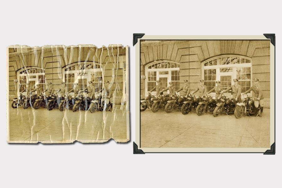 Phojoe Men on Motorcycles Photo Restoration