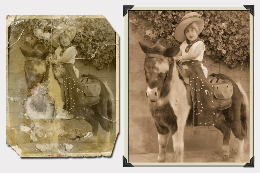 Phojoe Girl on a Pony Photo Restoration