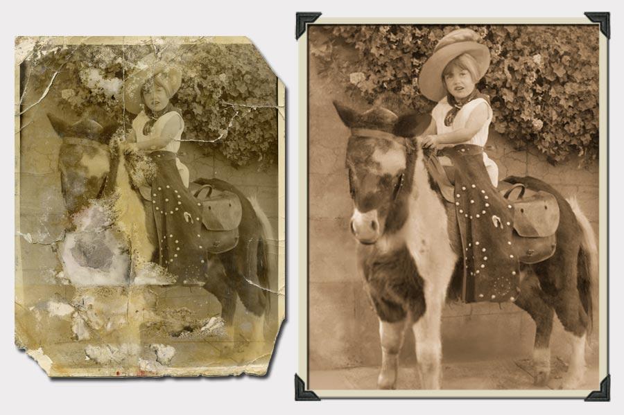Phojoe Girl on a Pony Photo Restoration