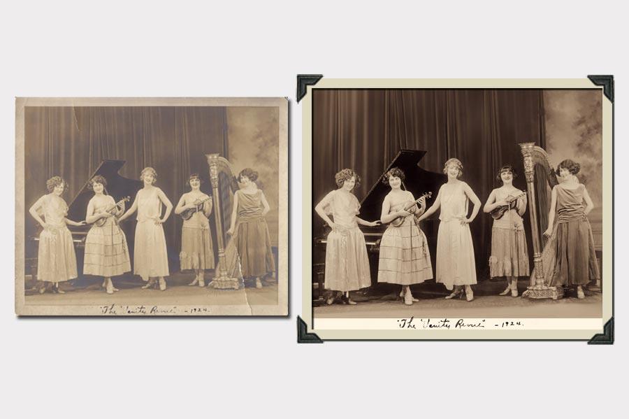Phojoe Ladies and a Piano Faded Photo Restoration