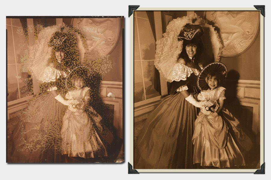 Phojoe Woman and Girl in Dresses and Hats Photo Restoration