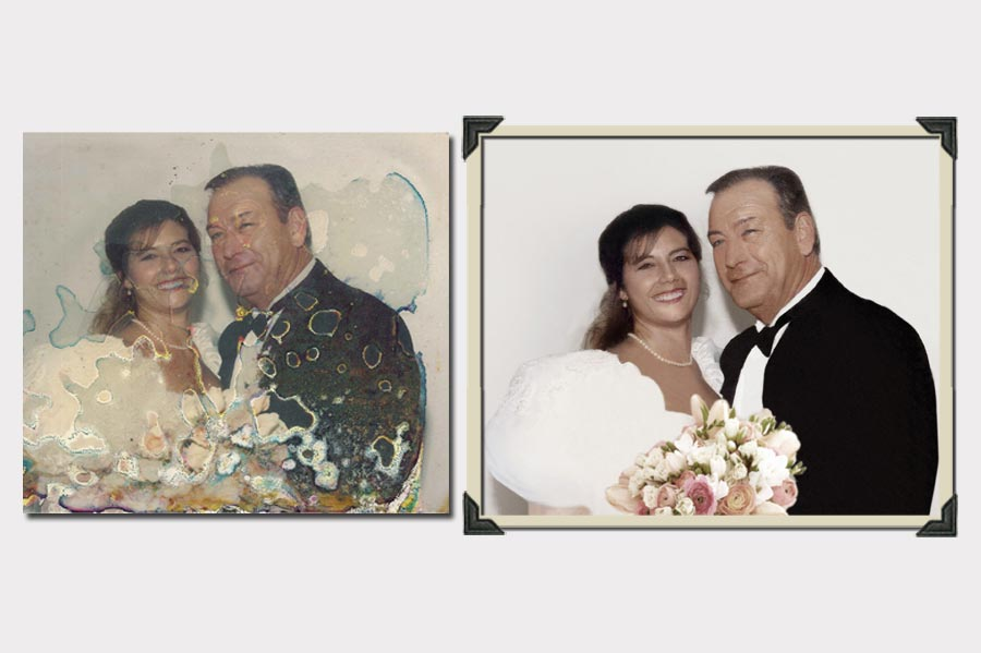Phojoe Wedding with Pink Roses Photo Restoration