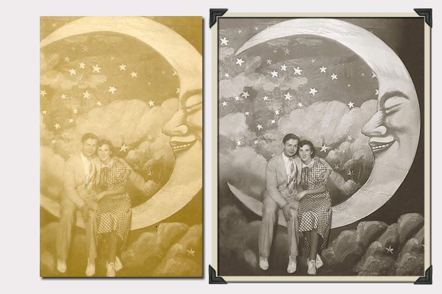 Phojoe Couple on the Moon Photo Restoration