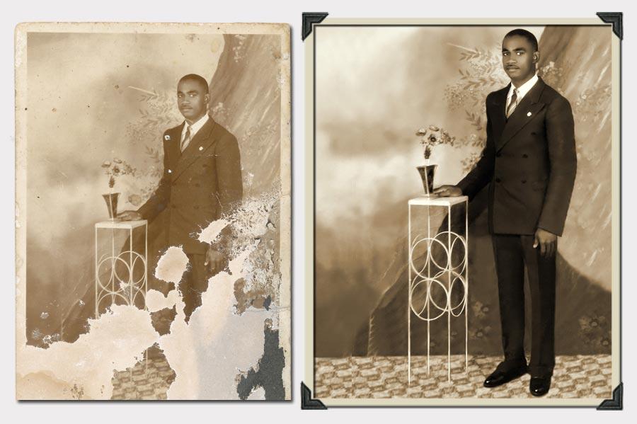 Phojoe Man in Suit Near a Table Photo Restoration