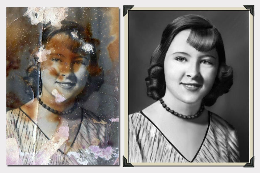 Phojoe Girl with Necklace Photo Restoration