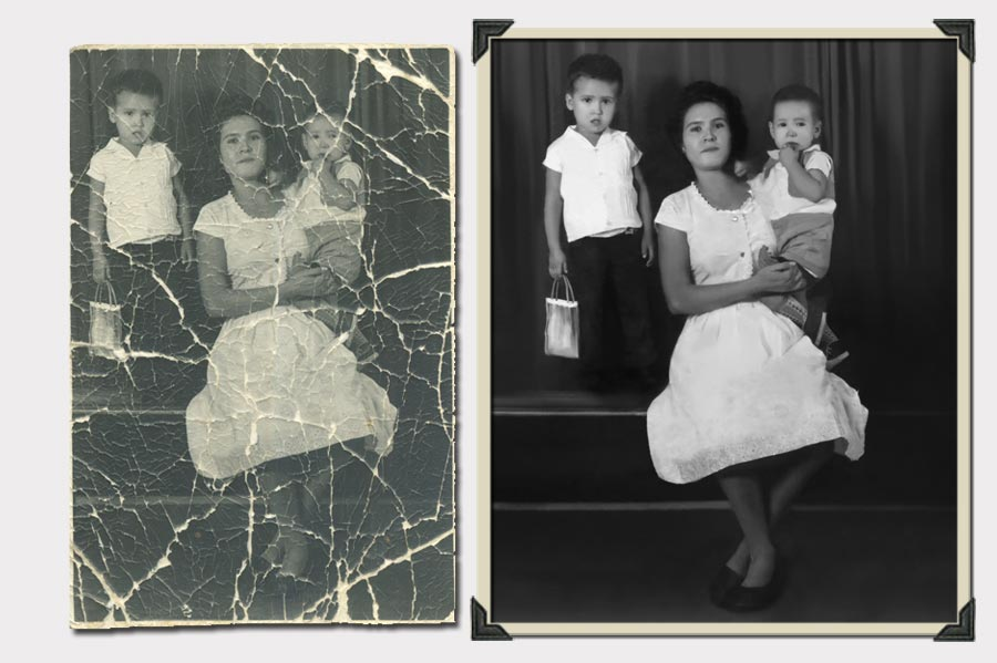 Phojoe Woman and Two Kids Photo Restoration