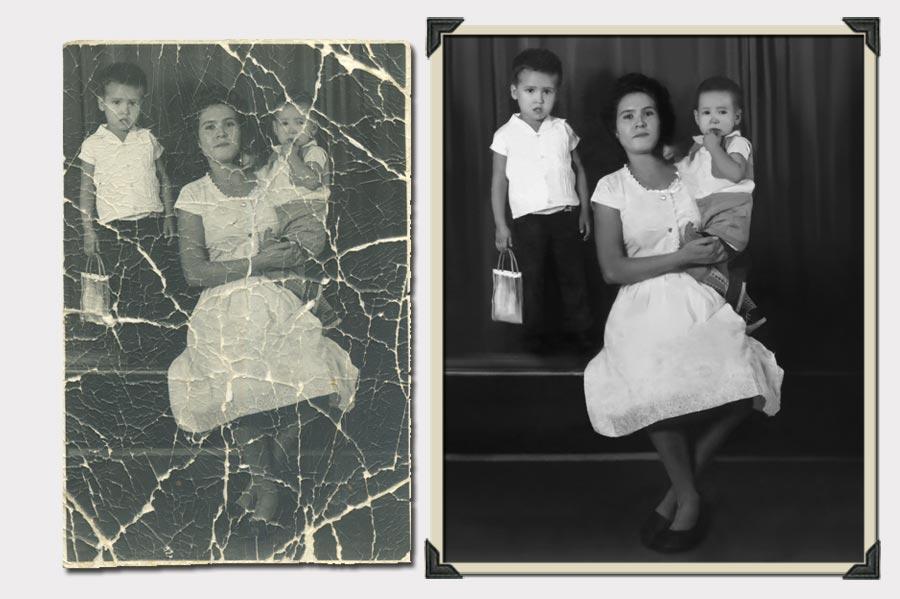 Phojoe Woman and Two Kids Photo Restoration