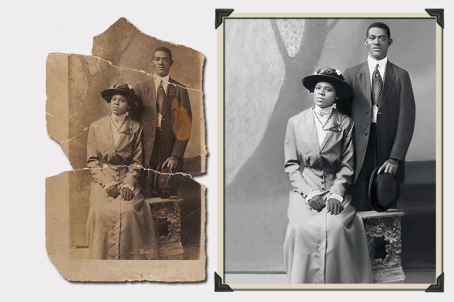 Phojoe Couple Portrait with Hats Photo Restoration