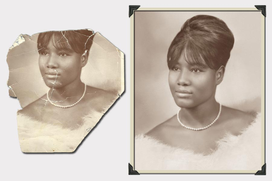 Woman with Updo and Pearls Photo Restoration