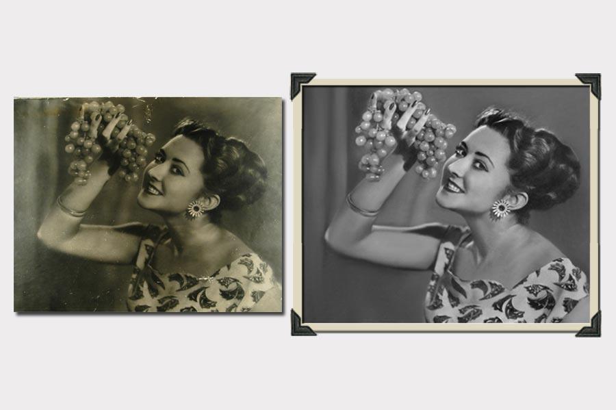Phojoe Woman with Grapes Photo Restoration