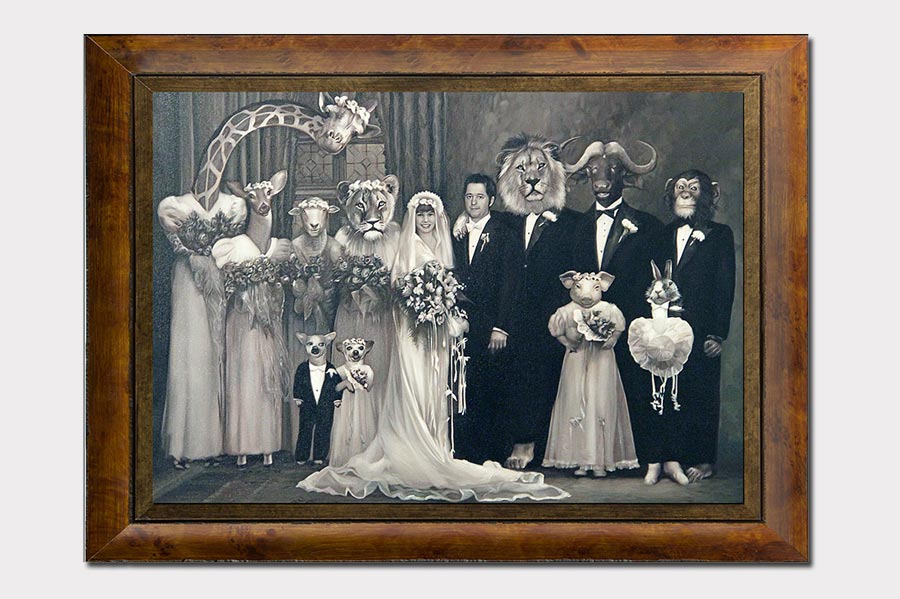 Phojoe Wedding with Animals Photo Manipulation Oil Painting